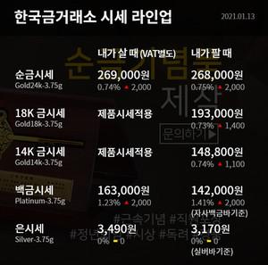 [오늘의 금시세] 순금 한돈 24K, 18K, 14K 등 1월 13일 한국금거래소 금값(거래가격)