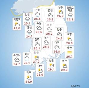 [기상특보]오늘의 날씨 및 내일날씨 예보, 서울-인천 등 전국 곳곳 소나기, 폭염과 열대야 지속!