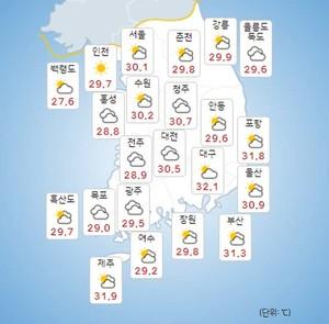 [전국 오늘의 날씨 및 내일날씨] 부산-울산-대구- 경북 등 폭염경보, 5~7일 전국 소나기!, 폭염과 열대야는 지속!
