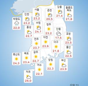 [전국 오늘의 날씨 및 내일날씨]추석 천둥-번개 동반한 강한 비...달 뜨는 시각!..일출시간(해뜨는 시간)[종합]